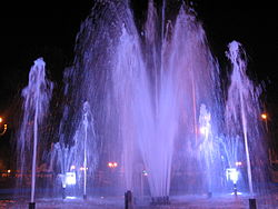 Iquitos Plaza de Armas Fountain by Night.jpg