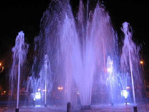 Iquitos Plaza de Armas Fountain by Night