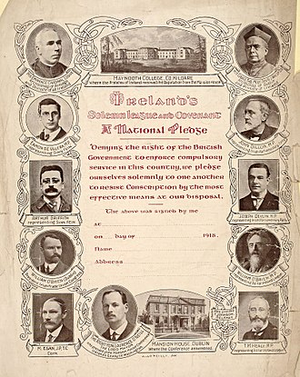 Conscription Crisis of 1918 - Ireland's Solemn League and Covenant Pledge 1918, with portraits of Bishops Conference and Mansion House Committee members