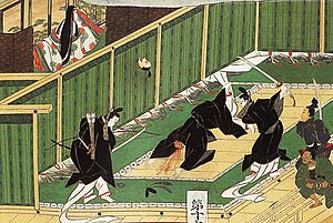 Isshi Incident - Depiction of the assassination of Soga no Iruka from the Tōnomine Engi Scroll, painted during the Edo period (17-19th century).