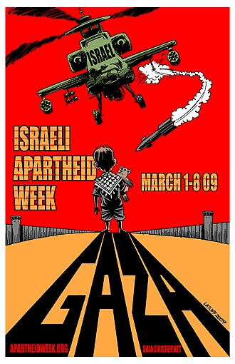 Israel and the apartheid analogy - Poster for the 2009 Israeli Apartheid Week, designed by Carlos Latuff.