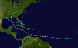 A picture of the track of Hurricane Ivan