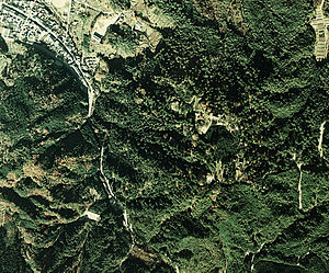 Iwamura Castle - Aerial view of the area around Iwamura Castle