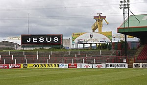 "The Oval (Belfast) - ""Jesus"" sign"