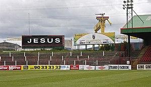 """The Oval (Belfast) - """"Jesus"""" sign"""