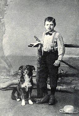 London at the age of nine with his dog Rollo, 1885 Jack London age 9 - crop.jpg