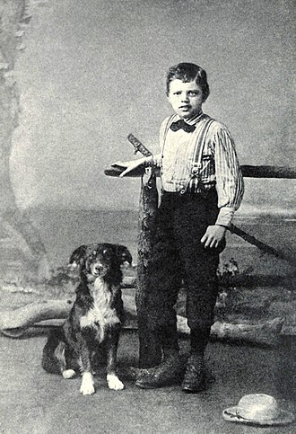 Jack London - London at the age of nine with his dog Rollo, 1885