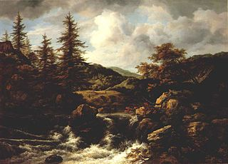 Wooded Landscape with Waterfall