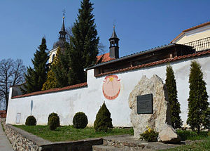 Jan Dismas Zelenka - Zelenka's place of birth, at Louňovice pod Blaníkem, Czech Republic, now marked by a memorial with the plaque and sundial