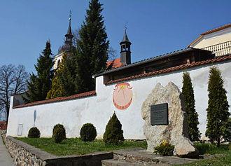 Jan Dismas Zelenka - Zelenka's place of birth, at Louňovice pod Blaníkem, Czech Republic, now marked by a memorial with the plaque and sundial