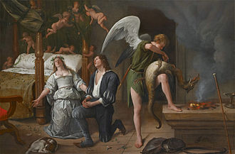 Museum Bredius - Tobias and Sarah in Prayer with the Angel Raphael and the Demon, painting restored in 1996 by rejoining Bredius's angel half with the marriage bed half formerly owned by the Jewish refugee Jacques Goudstikker. It was the subject of a dispute about nazi plunder.
