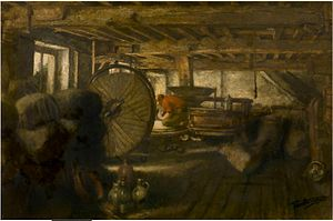 Jan Stobbaerts - The interior of a windmill