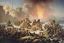 Османские войска отчаянно пытаются остановить продвигающихся русских во время штурма Очакова в 1788 году