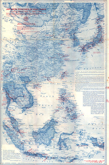 A Map (front) Of Imperial Japanese Run Prisoner Of War Camps Within The  Greater East Asia Co Prosperity Sphere Known During World War II From 1941  To 1945.