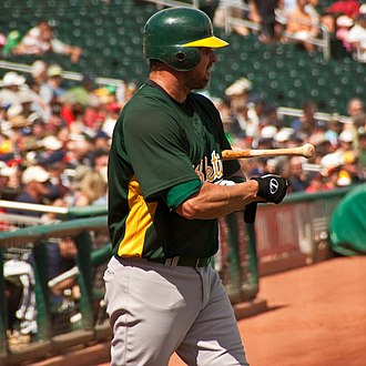 Jason Giambi - Giambi during his tenure with the Oakland Athletics in 2009 spring training