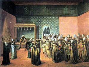 Ibrahim Muteferrika - Sultan Ahmed III receives French ambassador Vicomte d'Andrezel at Topkapı Palace.