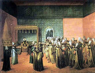 Divan - Audience in the Diwan-i-Khas granted to the French ambassador, the vicomte d'Andrezel by Ottoman Sultan Ahmed III, 10 October 1724, in a contemporary painting by Jean-Baptiste van Mour.