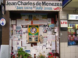 Brazilians in the United Kingdom - Shrine to Jean Charles de Menezes outside Stockwell Underground Station