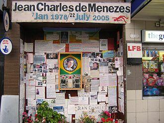 Brazilians in the United Kingdom - Shrine to Jean Charles de Menezes outside Stockwell Underground Station
