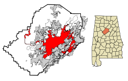 Jefferson County Alabama Incorporated and Unincorporated areas Birmingham Highlighted.svg