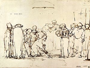 Sketch (drawing) - Jesus and the Adulteress. A sketched figure composition by Rembrandt