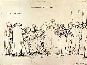 Jesus and the woman taken in adultery - Christ and the woman taken in adultery, drawing by Rembrandt