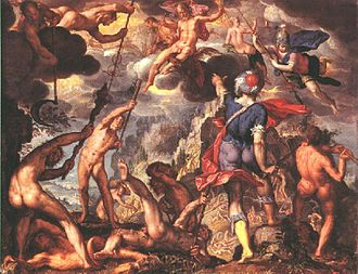 Titanomachy - Joachim Wtewael, The Battle Between the Gods and the Titans, oil on copper, 1600