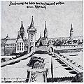 Johann Matthäus Faber (1626 - 1702), Heilbronn im Jahre 1691, Brückentorturm erbaut nach dem Neckarprivileg 1333 (links), und das staufische Burgentor, erbaut vor dem Neckarprivileg 1333 (rechts).jpg