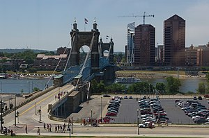 John A. Roebling Suspension Bridge - A view of the John A. Roebling Suspension Bridge from the third floor of the National Underground Railroad Freedom Center in Cincinnati