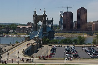 Covington, Kentucky - A view of the John A. Roebling Suspension Bridge, looking towards Covington