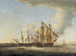 John Cleveley the Elder - Two British Men-o-War among ather ships in an estuary.jpg