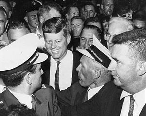 1960 Democratic National Convention - Kennedy arrives at the convention after being named the Democratic party's presidential candidate, July 13, 1960.