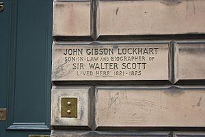 John Gibson Lockhart - Plaque to John Gibson Lockhart at 25 Northumberland St, Edinburgh