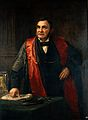 John Wood FRS, FRCS (1825-1891) giving a lecture. Oil painti Wellcome V0018109.jpg