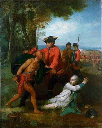 General Johnson Saving a Wounded French Officer from the Tomahawk of a North American Indian - Image: Johnson saving Dieskau