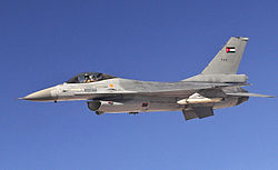 Jordanian F-16 Fighting Falcon aircraft with Squadron One flies an air refueling mission (cropped).jpg