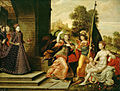 Joris Hoefnagel or Hans Eworth - Queen Elizabeth I & the Three Goddesses, ca 1569.jpg