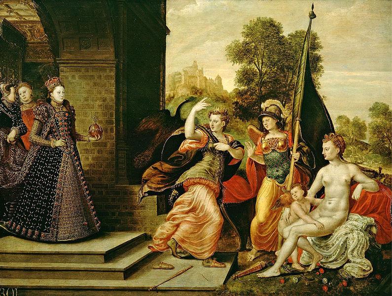 File:Joris Hoefnagel or Hans Eworth - Queen Elizabeth I & the Three Goddesses, ca 1569.jpg