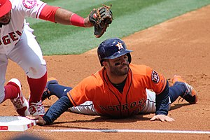 Pickoff - Houston Astros player José Altuve is tagged out on a pickoff play at first base during a 2017 game