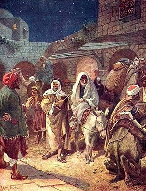 English: Joseph and Mary arrive in Bethlehem (...