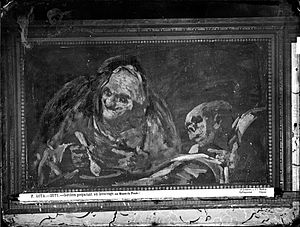 """Two Old Ones Eating Soup - The original painting on the wall of the Quinta de Goya, photographed in 1874 by Jean Laurent. The sign indicating """"Museo del Prado"""" was added in the original glass negative, circa 1890."""