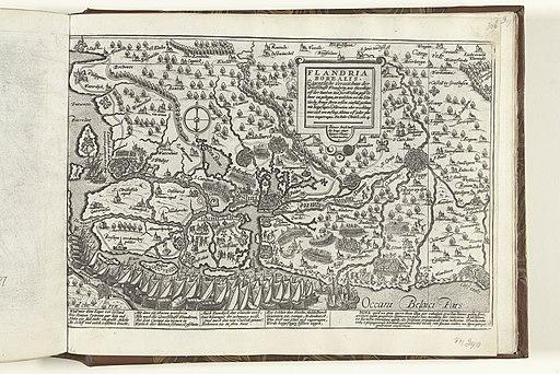 Kaart van Vlaanderen, 1604 Flandria Borealis (titel op object) Serie 10 Nederlandse en Buitenlandse Gebeurtenissen, 1587-1612 (serietitel), RP-P-OB-78.784-308