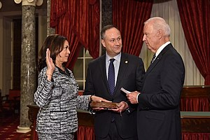Kamala Harris takes oath of office as United States Senator by Vice President Joe Biden.jpg