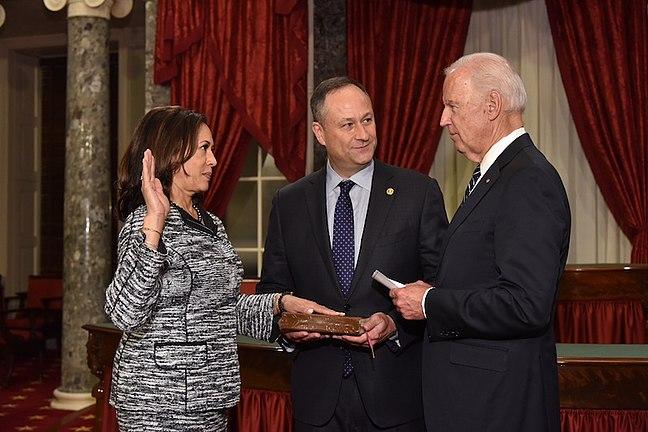 Kamala Harris takes oath of office as United States Senator by Vice President Joe Biden.jpg