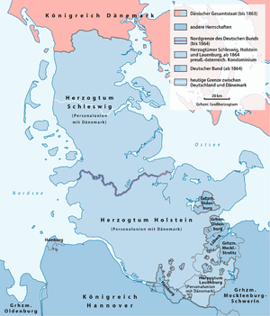 Treaty of Vienna (1864) - Map of the territorial changes due to the Treaty of Vienna.