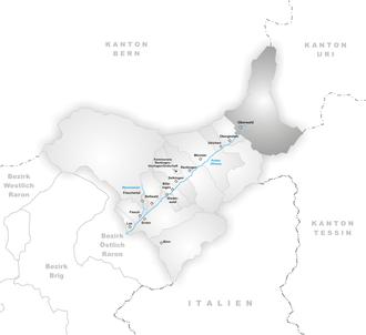 Oberwald - Image: Karte Gemeinde Oberwald