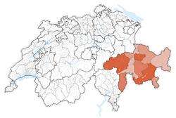 Map of Switzerland, location of Graubünden  highlighted