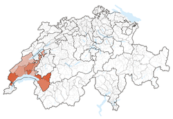 Map of Switzerland, location of Vaud highlighted