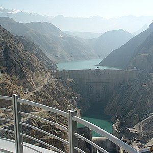 Water supply and sanitation in Iran - The government announced a large dam building program in 2008. Most dams in Iran, such as the Karun-3 dam shown are built for hydropower, flood control and irrigation, but not for drinking water supply.