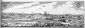 Martinskirche, Kassel - Kassel - Excerpt from Topographia Hassiae by Matthäus Merian 1655 - the Martinskirche is in the centre.